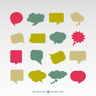 Conjunto de colores discurso burbuja