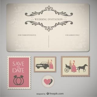 de la boda tarjetas de dibujos animados de vectores