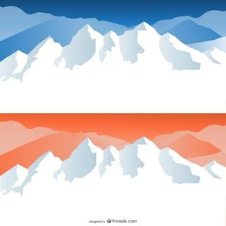 nieve dibujos animados coronó montañas vector de material