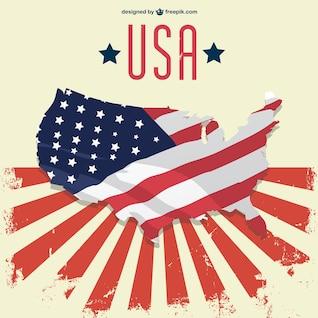 Plantilla con mapa y bandera de Estados Unidos