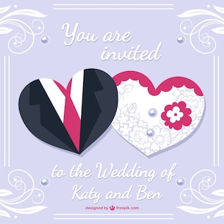 Diseño de tarjeta de boda con vestidos de novio y novia