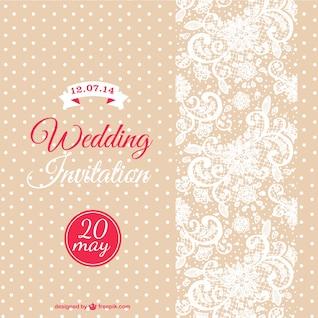 Plantilla de invitación de boda vintage color beige