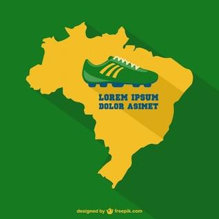 Vector de fondo de fútbol con mapa de Brasil