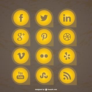 Colección de iconos de redes sociales amarillos