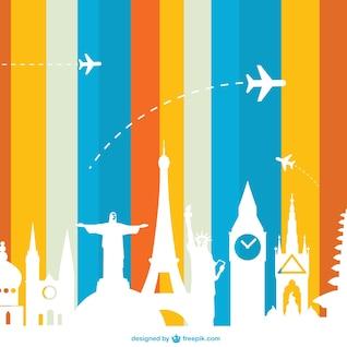 Vector de turismo con siluetas de monumentos