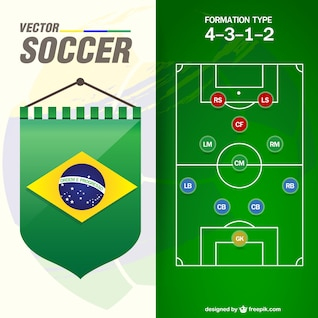 Vector de fútbol con bandería de Brasil