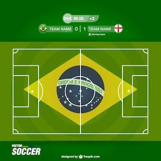 Vector campo de fútbol con bandera de Brasil