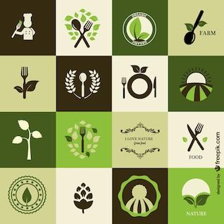Iconos de cocina orgánica