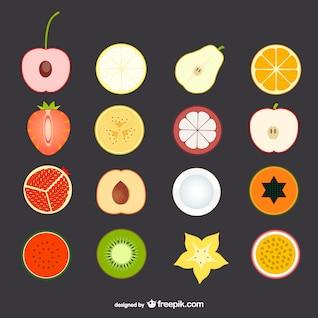 Colección iconos de frutas