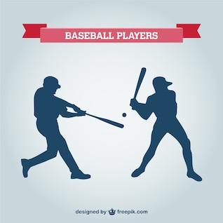 Siluetas de jugador de béisbol