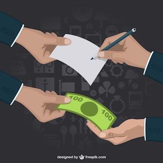 Vector transacción comercial