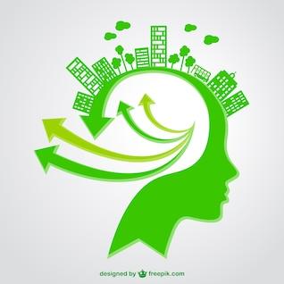 Ilustración de cabeza y ecología