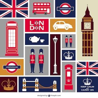 Colección de vectores planos de Londres