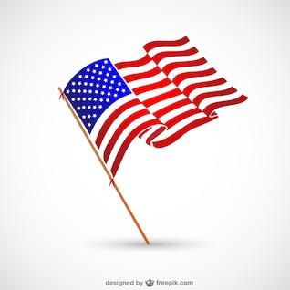 Bandera con asta de Estados Unidos