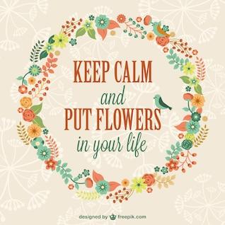 Vector mantén la calma y pon flores en tu vida