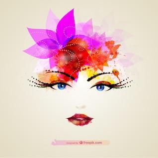 Vector cara de chica con colores brillantes
