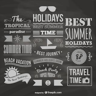 Colección de tipografías de verano con textura de pizarra