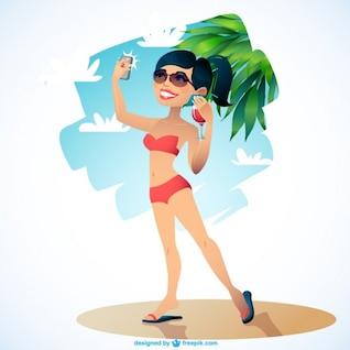 Chica en la playa toma selfie