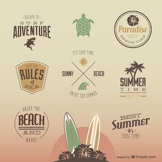 Colección de logos de diversión en verano