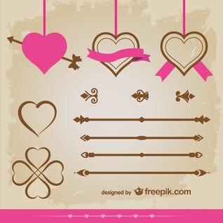 Pack de vectores ornamentales y corazones