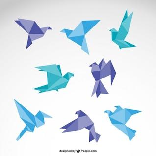 Conjunto de pájaros estilo origami