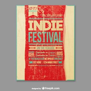 Vector plantilla de festival indie