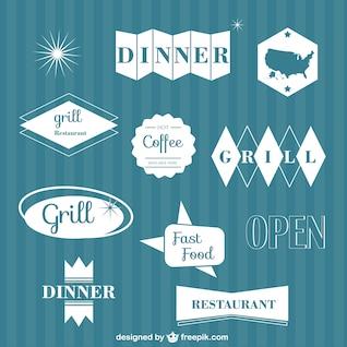 Elementos gráficos vectoriales de restaurante