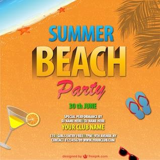 Diseño de cartel de fiesta de verano en la playa