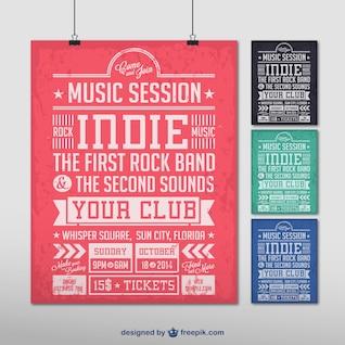 Vector de cartel de música indie