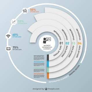 Infografía redonda por pasos