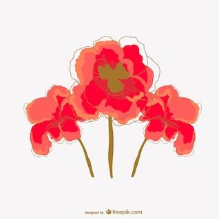 Vector acuarela de flores rojas