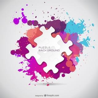 Fondo de puzle con pintura de colores