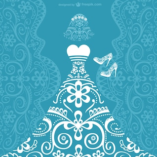 Tarjeta de vector de vestido de novia