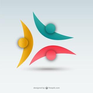 Plantilla de logotipo con siluetas de colores