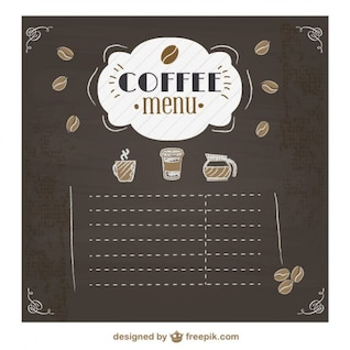 Menú de café en pizarra