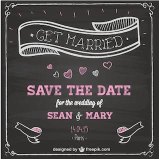 Invitación de boda con textura de pizarra