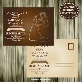Diseño retro de madera para invitación de boda