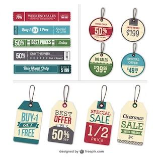 Vectores de etiquetas con precios