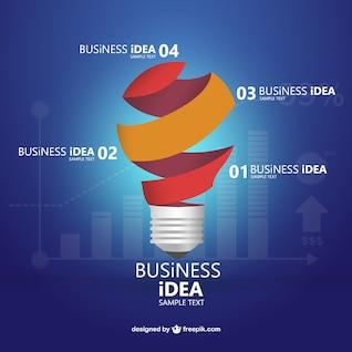 Infografía con bombilla para negocios