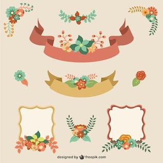 Elementos gráficos decorativos florales