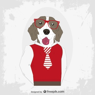 Vector perro hipster