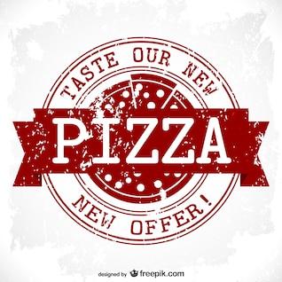 Diseño de sello de pizza grunge