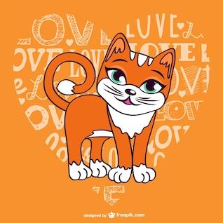 Vector gato y corazón