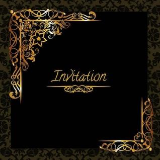 Plantilla elegante de invitación con adornos de oro