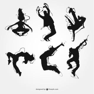 Siluetas de danza moderna