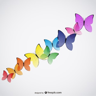 Vectores de mariposas de colores
