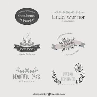 Plantillas de logos florales vintage