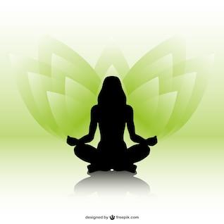 Silueta de mujer practicando yoga