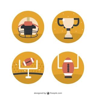 Iconos redondos de fútbol americano