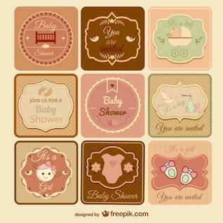Colección de invitaciones retro para presentación de bebé